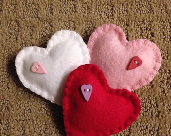 Set of 3 Handmade Felt Hearts