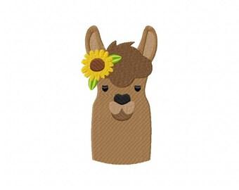Llama sunflower embroidery design