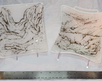 White with Frit Art Square Dishes