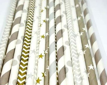 Silver and gold straw variety. Celebration party supplies. Silver chevron. Gold chevron. silver polka dots, Baby sprinkle decor. Anniversary