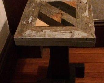 Small Scrap Wood Mosaic Pedestal Table