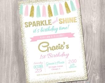 Sparkle and shine invitation, pink gold mint invite, sparkle 1st birthday invitation, first birthday, glitter, printable invitation, digital