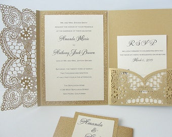 Wedding Invitation, Laser Cut Pocketfold Wedding Invitation, Pocketfold Invite, Lace Wedding Invite, LASER POCKETFOLD LACE