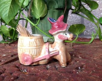 Vintage Toothpick Holder Donkey Figurine