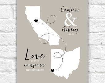 Custom Long Distance Relationship Gift Maps -  Art Print, Ampersand Initials, Neutral Gray Wedding Gift, Love, Compass, Map Gifts | WF177