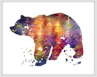 Bear Art Print, Bear Decor, Bear Watercolor Art, Bear, Bear Wall Decor