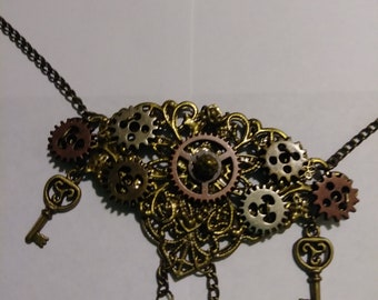 Filigree, Key, Clock Cog and Gears Necklace
