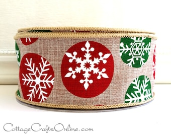 """Christmas Wired Ribbon, 2 1/2"""", White Snowflakes, Red and Green, Tan Linen Look, TWENTY FIVE YARD Roll, Offray """"Snowball"""" Wire Edge Ribbon"""