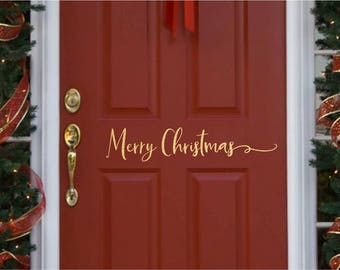 Christmas Door Decoration //  Merry Christmas  Decal  // Merry Christmas Door Decal  // Farmhouse Christmas // Front Door Christmas Vinyl