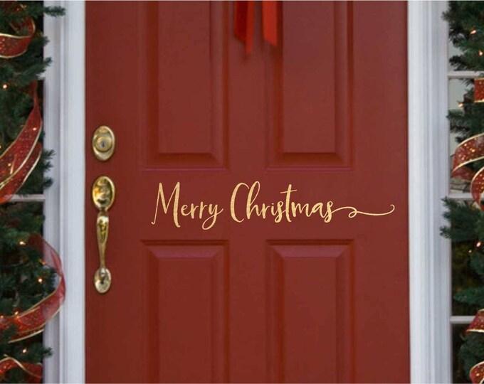 Christmas Door Decal   // Christmas Door Decoration //  Merry Christmas  Decal  // Merry Christmas Door Decal  // Farmhouse Christmas