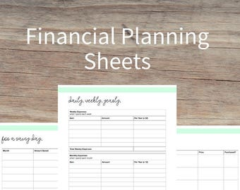 Financial Planning Sheets, finance and budget plans, budgeting, money tracker, earnings, bills, spending, monthly budget, printable planner