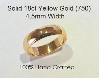 18ct 750 Solid Yellow Gold Ring Wedding Engagement Friendship Friend Half Round Band NEW 4.5mm