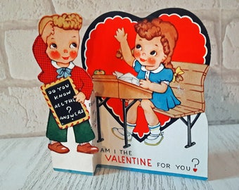 Vintage ORIGINAL 1930s Am I Valentine For You Children Valentines Day Greetings Card (B17)
