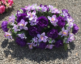 Large Full Gravesite Decoration Flowers / Spring Headstone Saddle / Purple Flowers ~ Cemetery Flowers
