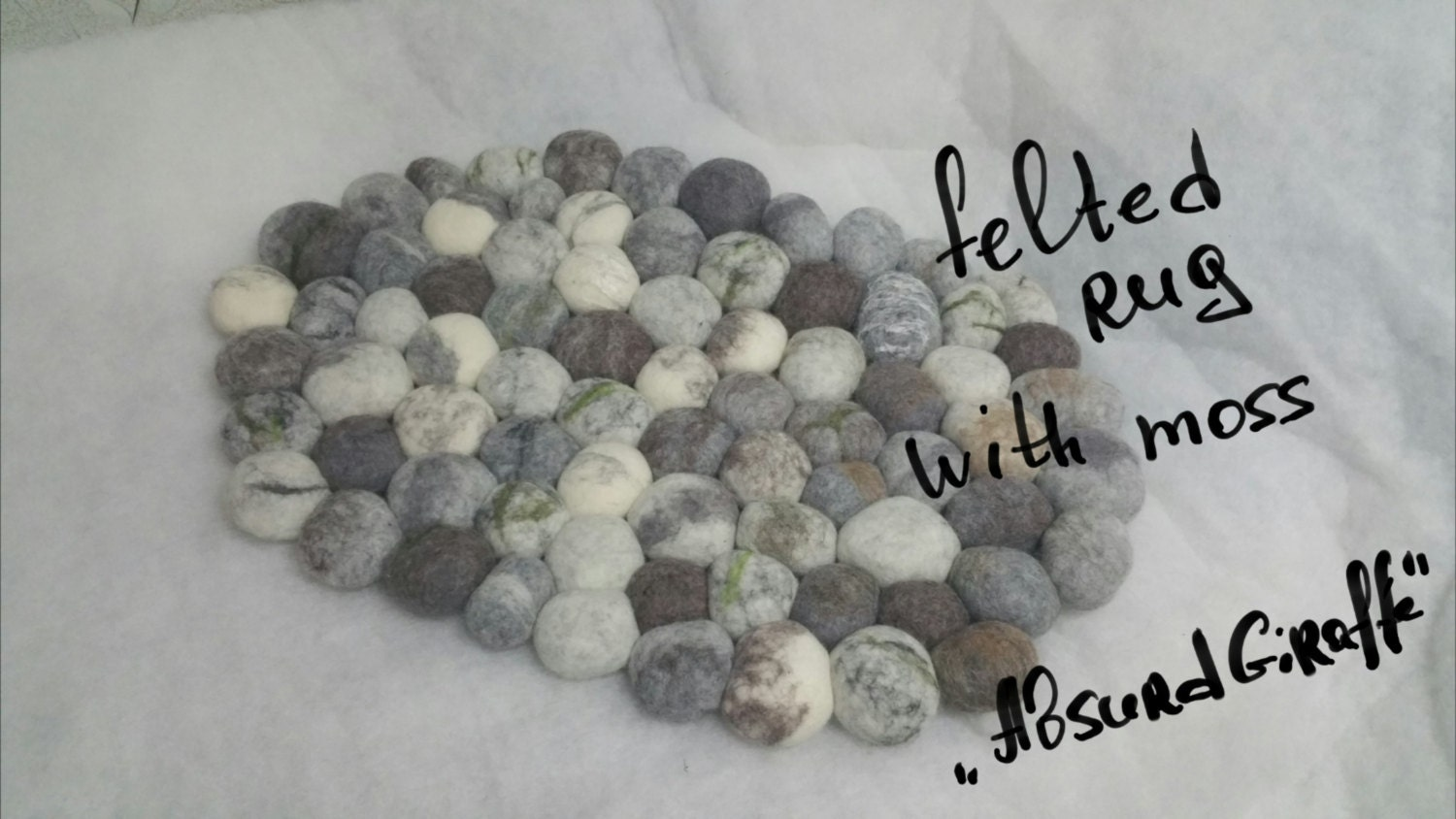 Felted stone rug felted pebble mat bath mat multi-color