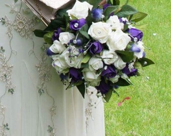 Scottish Wedding Purple and Ivory Thistle, Rose & Heather Bridal Bouquet Pride of Scotland Tartan