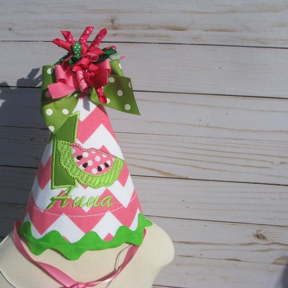 Watermelon Birthday Party Hat First Birthday Hat 2nd
