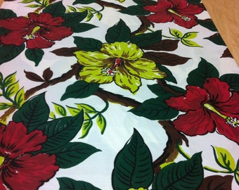 40s Stylized Hibiscus Design Gone Wild//MCM Tropical Fabric//Deep Red, Lime, Flowers//Chocolate, Evergreen Leaves on Wht Rayon Faille Ground