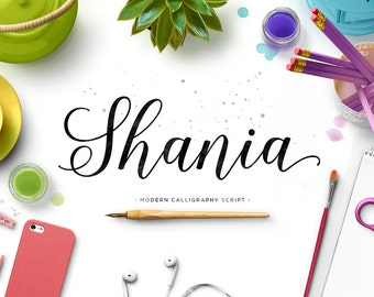Shania Script, Modern Calligraphy Font, Script Font, Handwritten Font, Cursive Font, Calligraphy Font, Fancy font, Digital Font Download