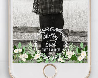Rustic Wedding Snapchat Filter, Engagement Snapchat Filter, White, Green, Florals, Greenery, Snapchat Geofilter,Party Filter, Rustic Filter