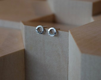 Tiny Linear Circle Studs | Silver Studs | Oxidised Earrings | Simple Studs | Small Earrings | Tiny Earrings