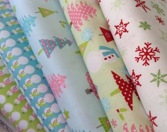 Riley Blake Designs Christmas Fabric Full Yard Set of five (5)  Lime  Blue Red White- Christmas Trees - Snowman - Snowflakes Holiday