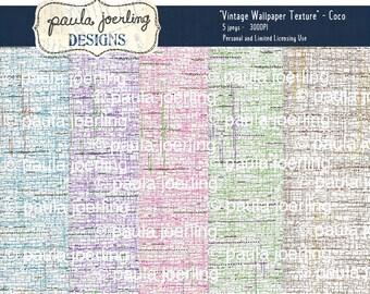 Vintage Wallpaper Digital Download, Printable Vintage Wallpaper, Ephemera, Texture Download, Scrapbook Paper, Smashbook Paper, Coco