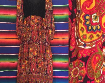 70s Young Innocent Paisley and Velvet Corset Maxi Dress Size XS