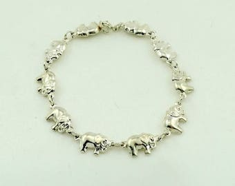 Elephants on Parade! Fun Vintage Sterling Silver Bracelet Featuring Lucky Elephants FREE SHIPPING!  #ELEPHANT10=LB2