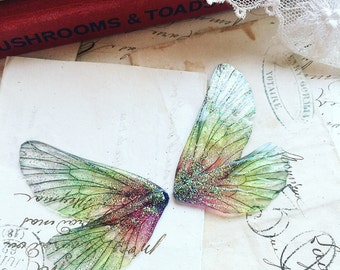 NEW pair of small green and pink rainbow faerie wings