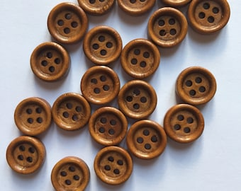20 wood buttons 11mm brown