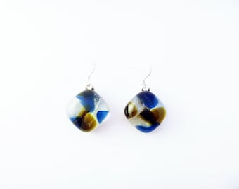 Recycled wine bottle earrings in blue, brown, and clear glass on sterling silver/Eco-friendly reclaimed glass kiln-fused handmade earrings