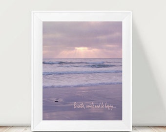 Ocean photography, pastel lavender wall art, California beach art print vertical, relaxing art inspirational quote, bedroom coastal artwork