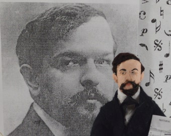 Claude Debussy French Composer Music Art Doll Miniature by Uneek Doll Designs