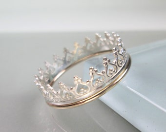 Sterling Silver Crown Ring w/ 14K Gold Filled Edging Band
