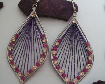 earring with purple metalisse wire and swarovski rhinestones