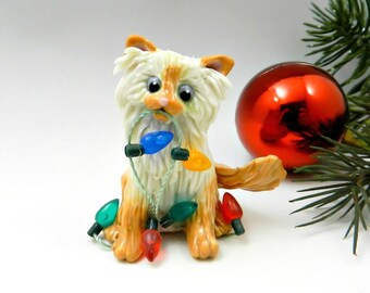 Himalayan Persian Cat Flamepoint Porcelain Christmas Ornament Figurine Lights