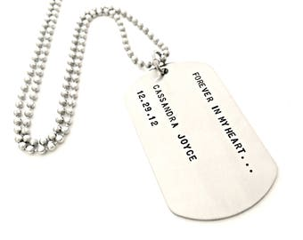 Hand Stamped Dog Tag Necklace - Forever in My Heart - Custom Remembrance, Memorial, Loss Jewelry - Personalized Gift for Him or Her