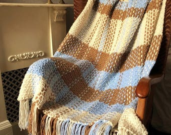 Crochet & Weave Pattern Large Plaid Throw