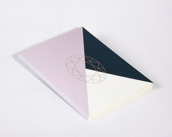 Modern Notebook Violet Diamond Oval Cut with Gold Foil