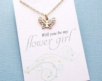 Flower Girl Gift | Butterfly Necklace, Flower Girl Proposal, Flower Girl Necklace, Bridesmaid Gift, Flower Girl Basket, Wedding | B01