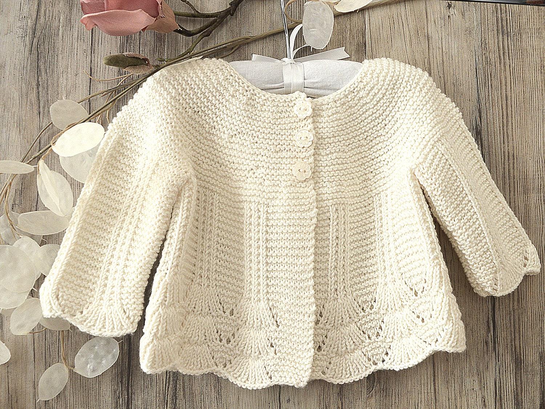 Knitting Pattern Shell Border Baby Cardigan P097