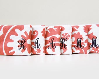 Set of 7 - Makeup Bags - Monogrammed Cosmetic bags - Choose your colors & prints - Small