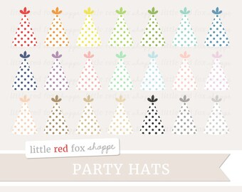 Party Hat Clipart, Birthday Party Clip Art Polka Dot Party Favor Object Labels Shape Tag Cute Digital Graphic Design Small Commercial Use