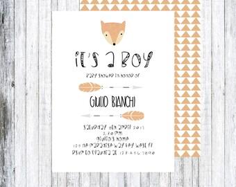 FOX BABY SHOWER inviti,partecipazioni,invitation-printable,stampabile.