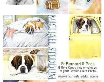 Saint Bernard 8 Pack Note Card Set
