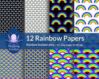 12 rainbow scrapbooking papers, rainbow digital papers, rainbow paper,  rainbow scrapbook paper - INSTANT DOWNLOAD