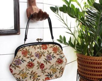 Floral Needlepoint Embroidered Handbag w/ Black Strap - Vintage Fashion Accessory