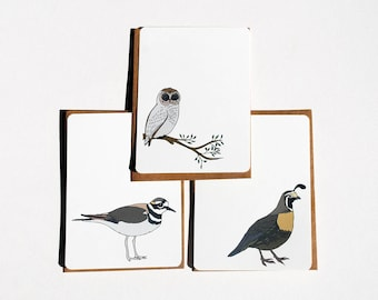 Flock of Birds Set 4 in Brown, Black, Gray, Beige, Gold and Taupe -Set of 6 flat Notecards and Kraft Envelopes
