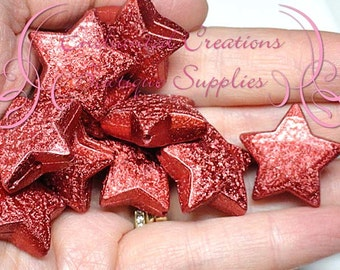 20mm Shimmery Red Acrylic Star Beads Qty 10, Stardust Coated, Bubblegum Beads, Gumball Bead, Chunky, Sparkly Beads, Large Glitter Beads